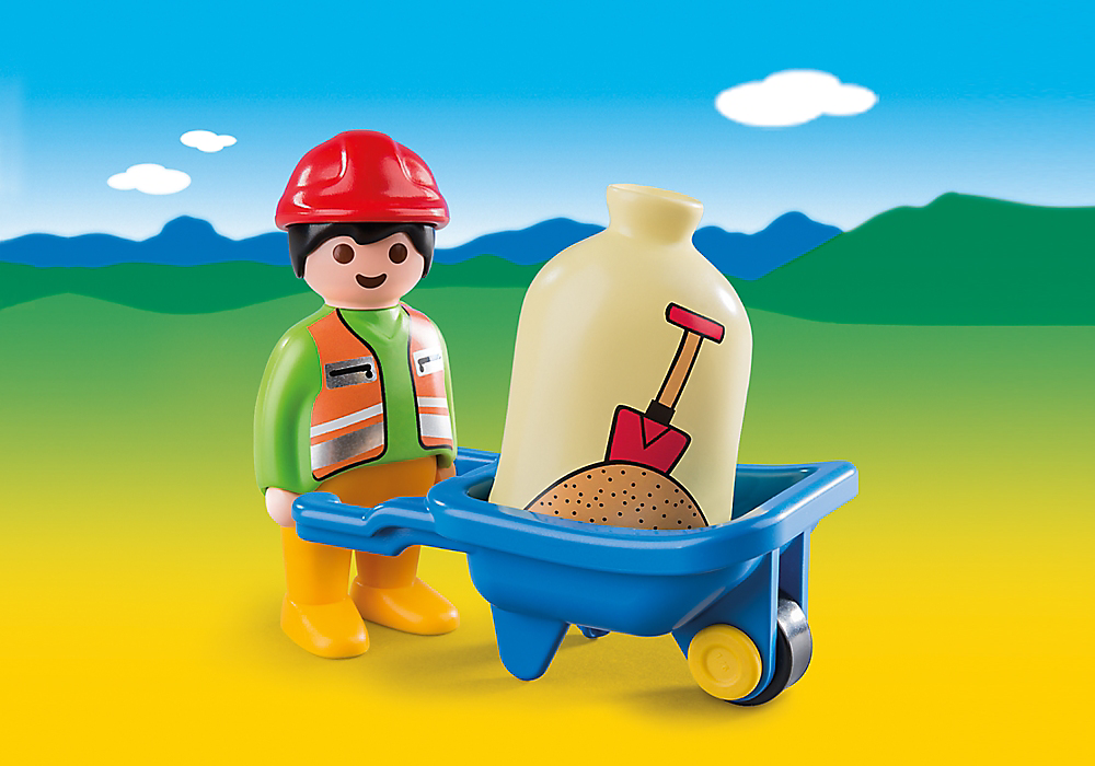 The Playmobil Worker with Wheelbarrow is ready for another hard days graft. Load up the wheelbarrow with the sand and transport it to another area of the construction site.