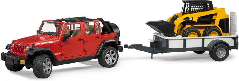 Bruder Jeep Wrangler With Trailer And CAT Skid Steer - 02925