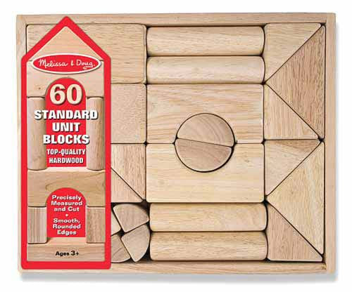 Melissa & Doug 503 Standard Unit Wooden Blocks 60 Pieces