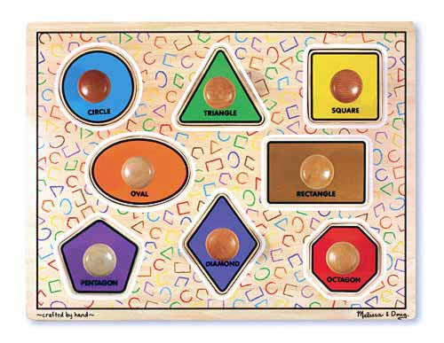 Melissa & Doug 13390 Large Peg Puzzle - Geometric Shapes
