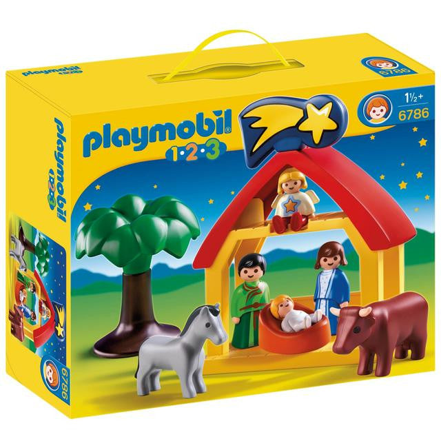 Create a festive holiday scene with the Christmas Manger. With a bright and colorful design and large, rounded pieces, this Playmobil 1.2.3 set is ideal for toddlers. Set includes four figures, manger with star, horse, cow, and tree.