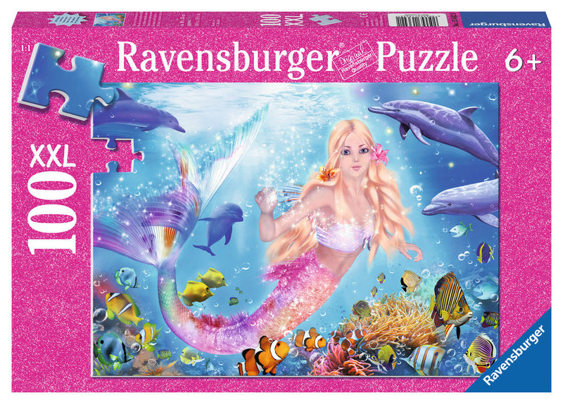 Ravensburger 100 Pieces Puzzle Glitter Mermaid/Dolphin - 13642