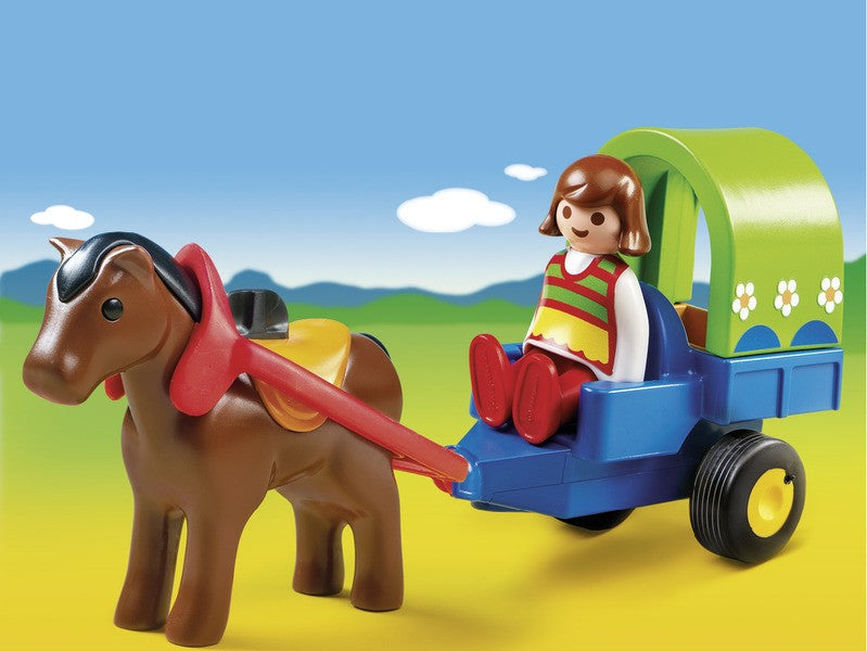 Take a ride through the country with the 1.2.3 Pony Wagon. With a bright and colorful design and large, rounded pieces, this set is ideal for toddlers. Use the harness to hitch up the wagon with removable cover to the pony and enjoy a scenic ride. Set includes one figure, pony, wagon, and other accessories.