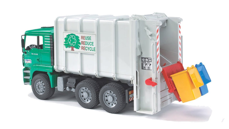 Bruder MAN Rear Loading Garbage Truck Green With 2 Trash Bins - 02764