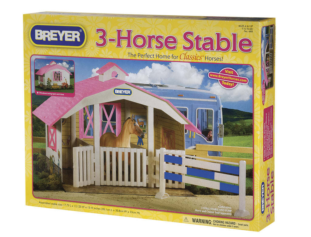 dorable, easy-to-assemble 3-stall barn is the perfect place for kids to stable their Classics horses. Features pink roof and windows and doors that swing open and closed. Includes blue-and-white plank jump. The essential accessory for the Classics line.