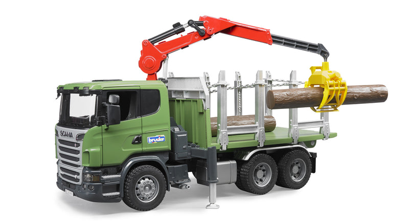 Bruder - 03524 | Forestry: SCANIA R-Series Timber Truck With Loading Crane And 3 Trunks