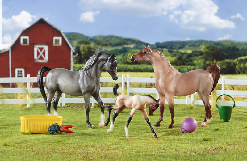 One of the world's oldest breeds, the Arabian, is known for its beauty, endurance and people-loving personality. The American Quarter Horse is known for speed and versatility. Combined, this Half Arabian family of three is athletic and fun! This pretty set includes a red roan stallion, blue roan mare and playful bay roan foal. Accessories include horse ball, bucket, water trough, carrots and 4 pieces of fencing. Ages 4+