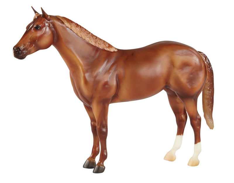 "The American Quarter Horse Association celebrates its 75th Anniversary in 2015! The AQHA is the world's largest breed registry. American Quarter Horses are known for their quarter-mile sprinting speed, versatility and uncanny ""cow sense"" for working cattle. They are great all-around horses and popular with families! Breyer's American Quarter Horse is an assortment of beautiful colors: sorrel, bay, palomino, roan, black, and dun."