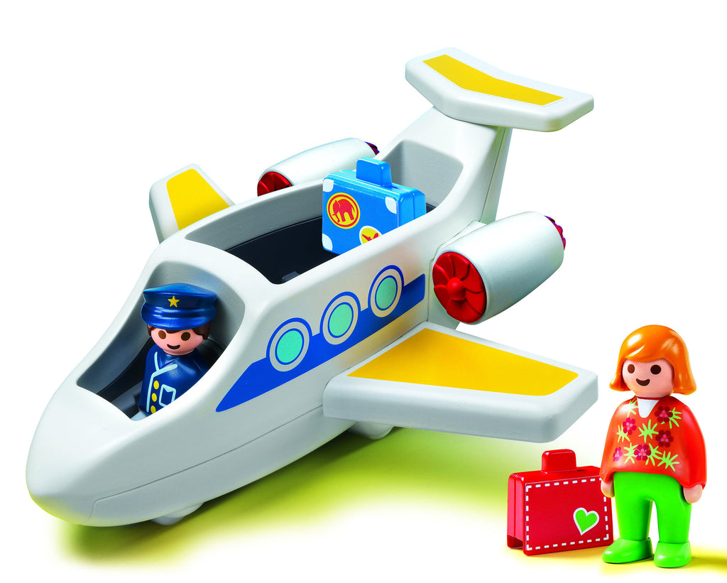 Soar to new heights with the 1.2.3 Personal Jet. With a bright and colorful design and large, rounded pieces, this set is ideal for toddlers. This set's pilot and passenger fit comfortably into the jet's seats, with the luggage easily stowed behind the seating.