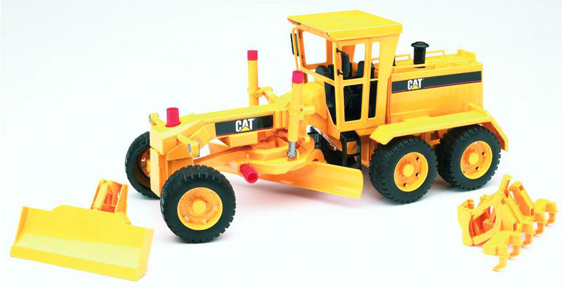 Bruder Caterpillar Motor Grader With Blades And Road Raker, Yellow - 02437