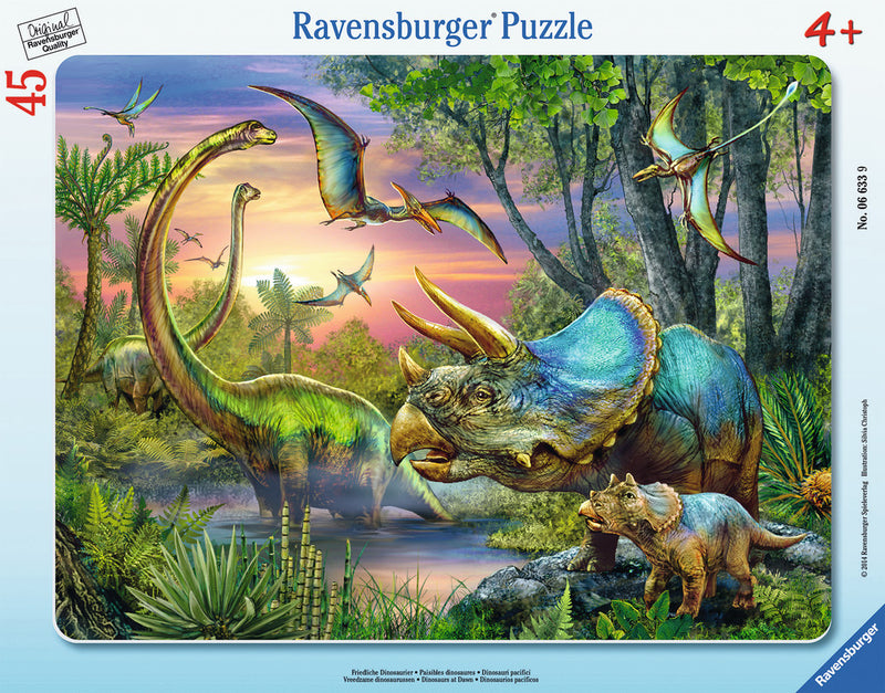 Ravensburger 45 Pieces Puzzle Board Dinosaurs At Dawn - 06633