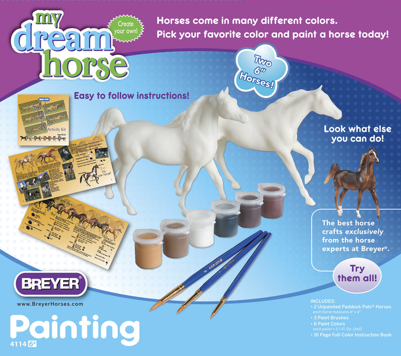 "An iParenting Media HOT Toy Winner! All this kit needs is the touch of a young artist! Two Paddock Pals unpainted model horses, paints and brushes, and a detailed ""how-to"" booklet will let any youngster paint and color these horses to their heart's content. Photography in booklet shows coat colors, eye and hoof detail, face and leg markings and everything a beginning artist needs to know about horses in an easy-to-follow format. Horse models measure: 6""L x 4""H"