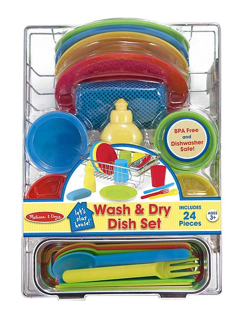 Melissa & Doug 14282 Wash And Dry Dish Set And Drying Rack
