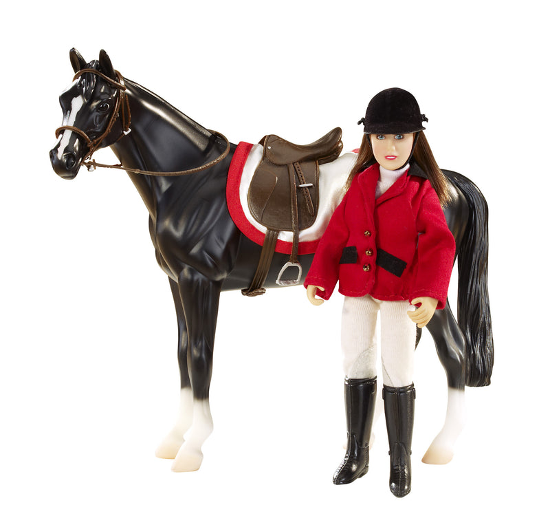 "This lovely 6"" articulated doll comes dressed to impress in her English riding apparel! Included is an English saddle, bridle, and saddle pad which will fit a Classics horse."