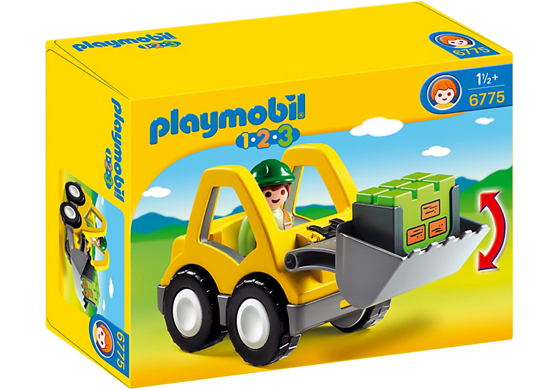 It's hard work at the Playmobil 1-2-3 construction site! Includes a front loader with a movable shovel, cargo and figurine.