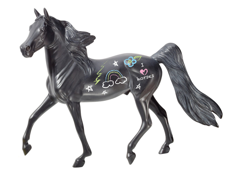 Use chalk to color, write on, and decorate this horse! Clean up is easy- just wipe with a damp cloth, and the Chalkboard Horse is ready for a new design. The possibilities are endless! Includes: Classics scale Chalkboard Horse, four pieces of chalk and sponge eraser.  Perfect for:  -Centerpieces -Party activities -Drawing games -Learning about horse markings and patterns