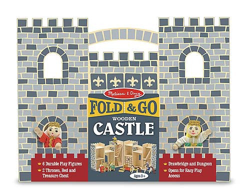 Melissa & Doug 13702 Fold And Go Wooden Castle Grey