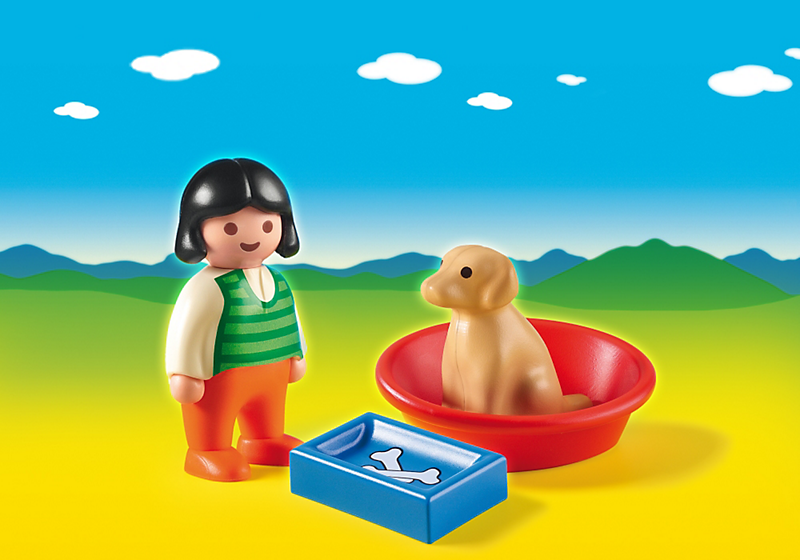 Girl with Dog with little basket. Teach an old dog a new trick with the Girl with Dog. With a bright and colorful design and large, rounded pieces, this PLAYMOBIL 1.2.3 set is ideal for toddlers. After a day of play, the dog can rest in the bed to re-energize for the next adventure. Set includes one figure, one dog, bed, and food bowl.