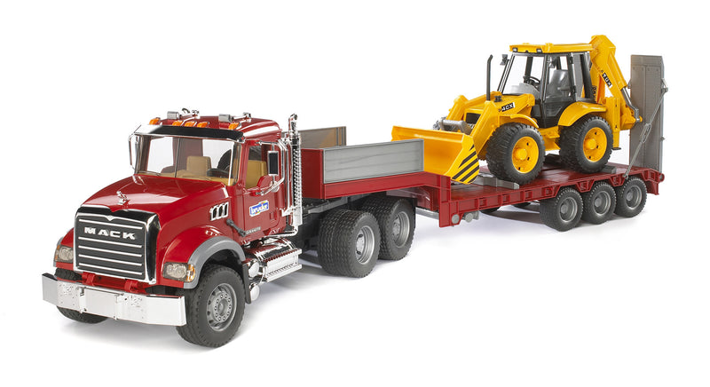 Bruder Mack Granite Truck With Low Loader & JCB 4CX Backhoe Loader - 02813