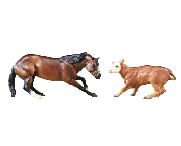 Perfect for the horse crazy girl, nothing is a greater introduction to the wonderful world of horse play than Breyer Classics model horses and accessories! With our model horse collection you can join new friends and learn all about the many breeds and colors of horses, as well as how to take care of them. You can recreate the real world of horses with accessories that provide hours of imaginative fun. Contains 1 Classics scale horse and 1 Classics scale calf.