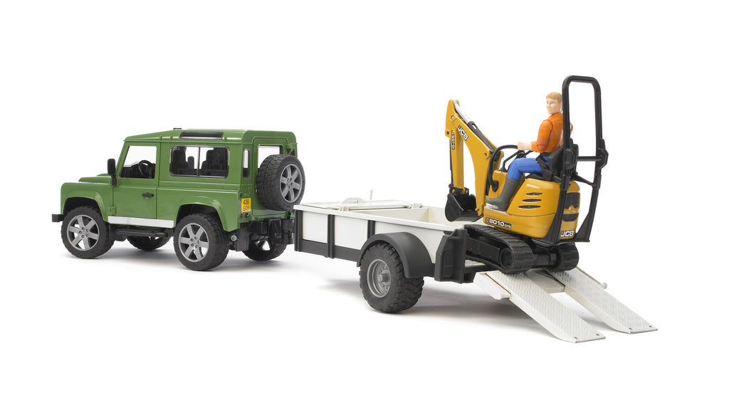 Bruder Land Rover Defender With Trailer, Micro Excavator & Worker - 02593