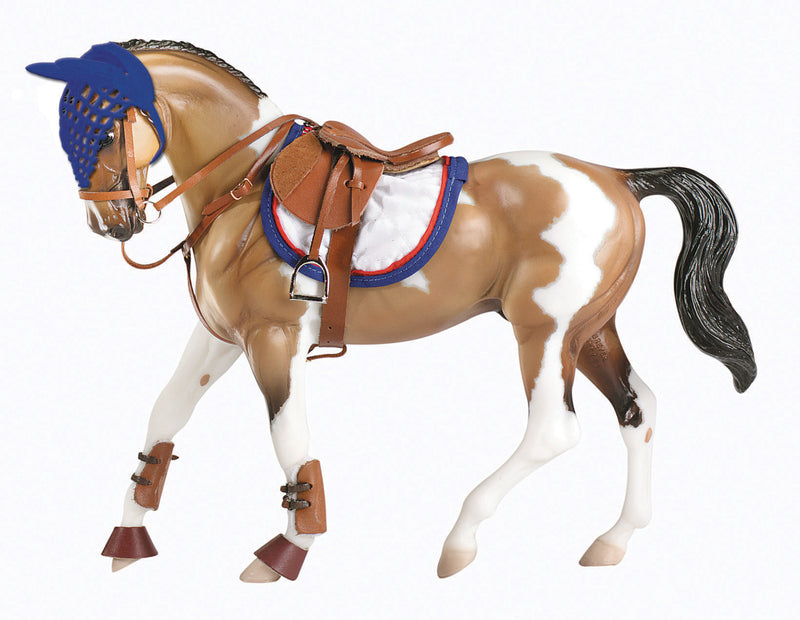 Suitable for hunters, jumpers, eventing, or equitation, this set is perfect for the Traditional horse. Contains: show saddle pad, standing martingale, open front jumping boots, rubber bell boots and fly bonnet.