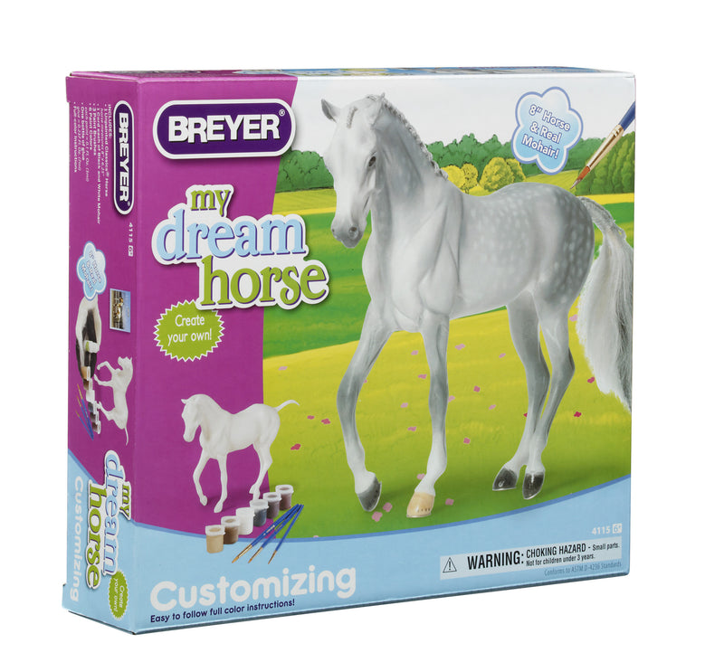 Use the paints, brushes and detailed instruction booklet to give a super start to customizing the unpainted model horse. Then, finish off with both black and white artist-quality mohair for customized mane and tail detailing, making one-of-a-kind Breyer horses that will be cherished forever!
