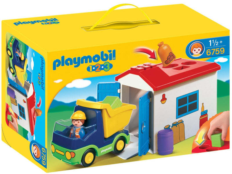 Park the truck in the garage and load it with cargo. Drop the different shaped cargo through the correct holes in the shed's roof. With a bright and colorful design and large, rounded pieces, this PLAYMOBIL 1.2.3 set is ideal for toddlers. Includes a figure, truck, garage and three cargos. Recommended for ages 18 months and up.