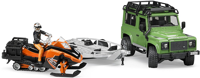 Bruder - 02594 | Leisure Time: Land Rover Defender Station Wagon With Trailer And Snowmobile