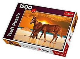 1500 Pieces Puzzle: Stallions On The Beach