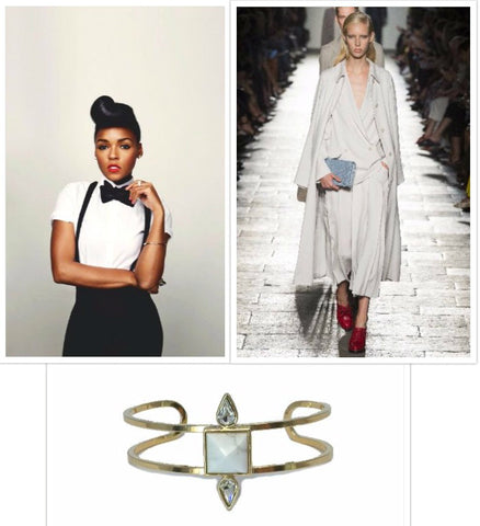 Janelle Monae, Bottega Venetta suit, and Iris cuff in gold and howlite