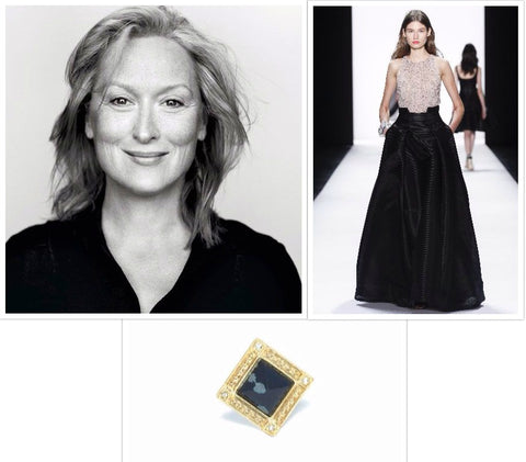 Meryl Streep, Badgley Mischka gown, Bird of Paradise ring in gold and obsidian