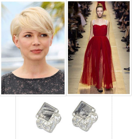 Michelle Williams, Dior gown, Fern earrings in silver and rutilated quartz