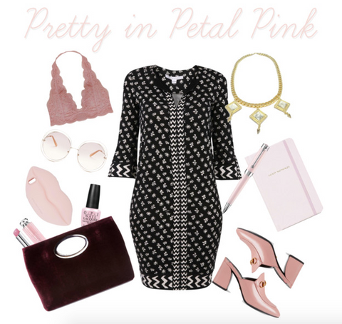 Polyvore set- Pretty in Petal Pink ft. the Bird of Paradise necklace, gold with howlite