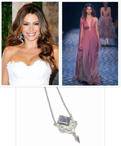 Sophia Vergara, Marchesa gown, Fern necklace in silver and lapis