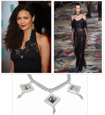Thandie Newton, Alexander McQueen Gown, and Bird of Paradise necklace