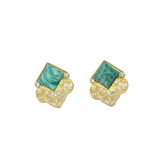 Statement earrings- gold with natural amazonite stone