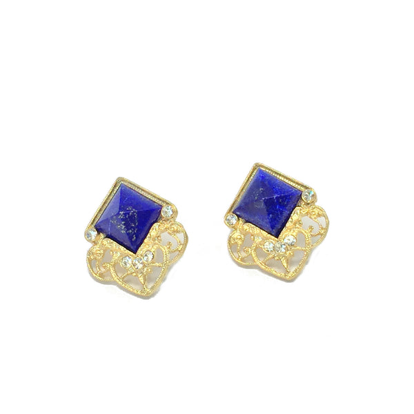 Statement earrings- gold with natural royal blue lapis stone