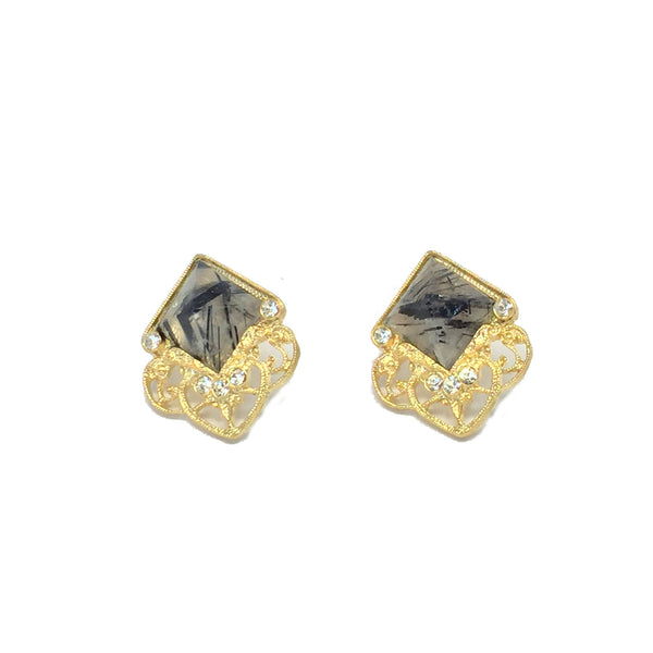 Statement earrings- gold with natural clear and black rutilated quartz stone