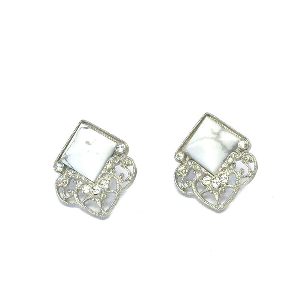 Statement earrings- silver with natural white howlite marble stone
