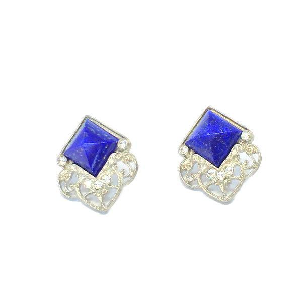 Statement earrings- silver with natural royal blue lapis stone