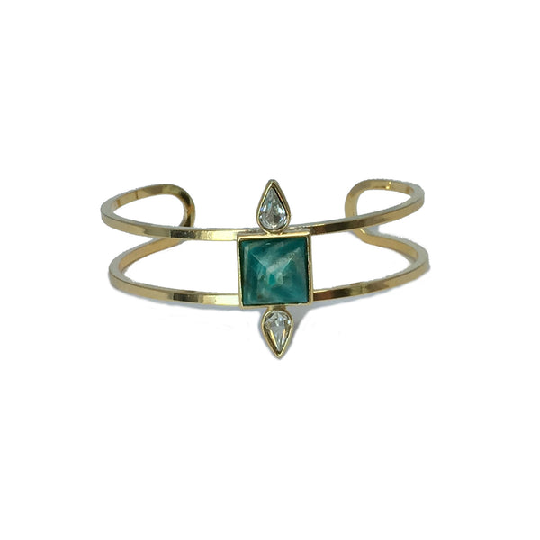 Gold fashion bracelet featuring two pear cut crystals and a natural amazonite stone in the center
