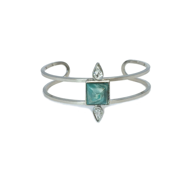 Silver fashion bracelet featuring two pear cut crystals and a natural amazonite stone in the center