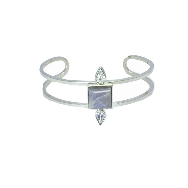 Silver fashion bracelet featuring two pear cut crystals and a natural iridescent labradorite stone in the center