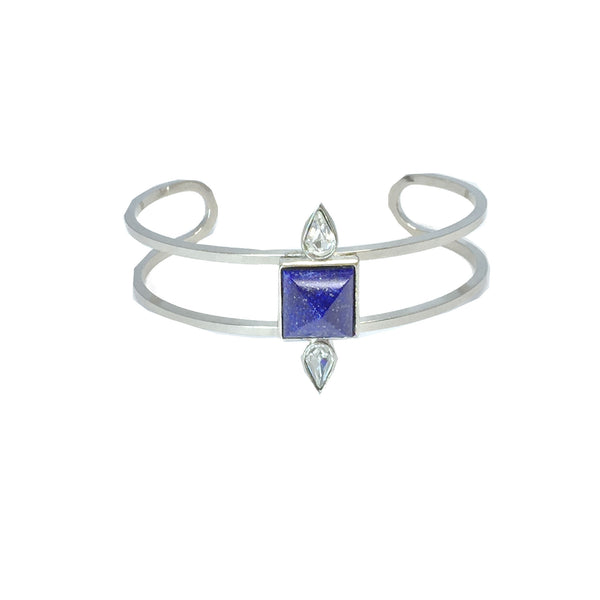 Silver fashion bracelet featuring two pear cut crystals and a natural royal blue lapis stone in the center