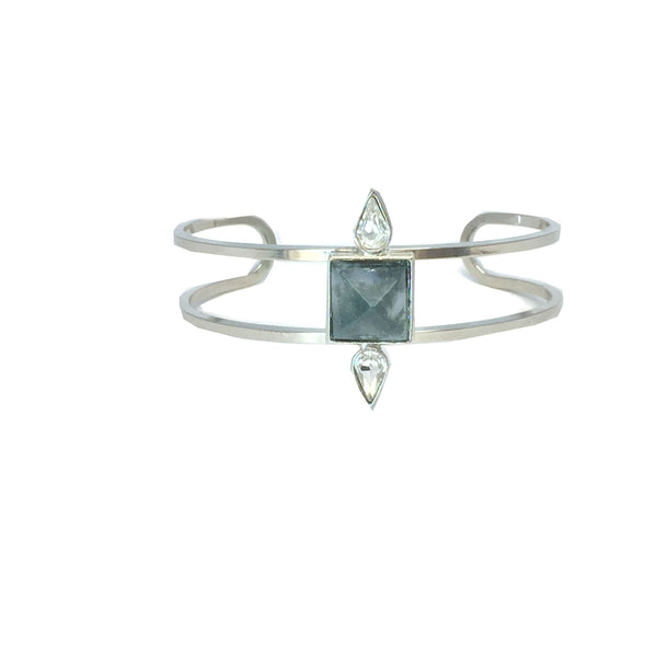 Silver fashion bracelet featuring two pear cut crystals and a natural moss agate stone in the center