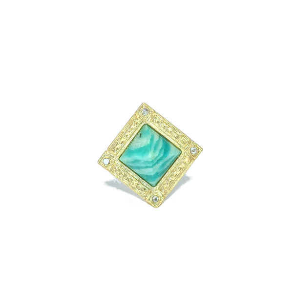 Cocktail ring gold with amazonite stone