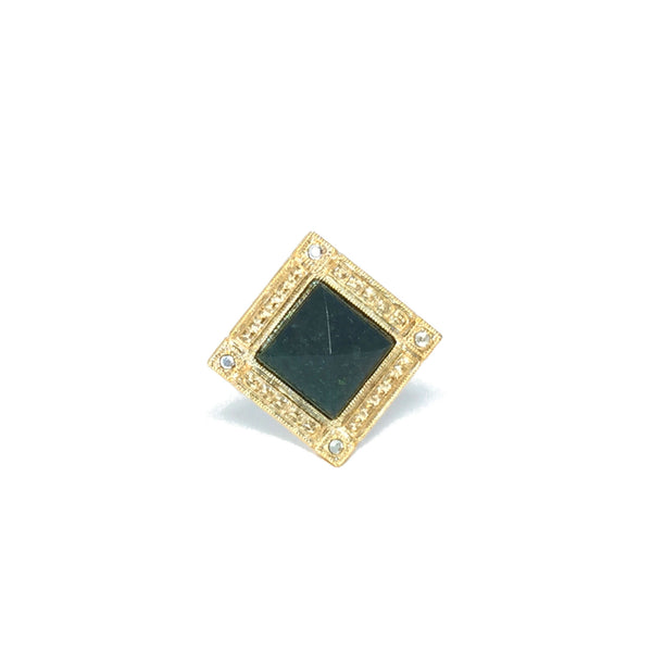 Cocktail ring gold with natural moss agate stone