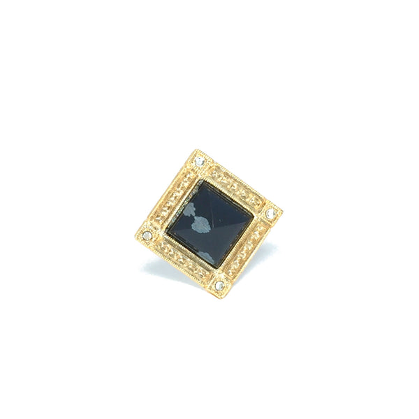Cocktail ring gold with natural black and grey obsidian stone