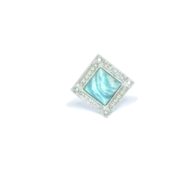 Cocktail ring silver with natural amazonite stone